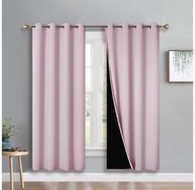 Set of pink black out curtains