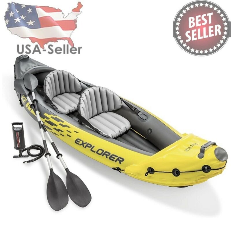 Intex Explorer K2 Kayak 2-Person Inflatable Set with Oars & Air Pump FAST SHIP