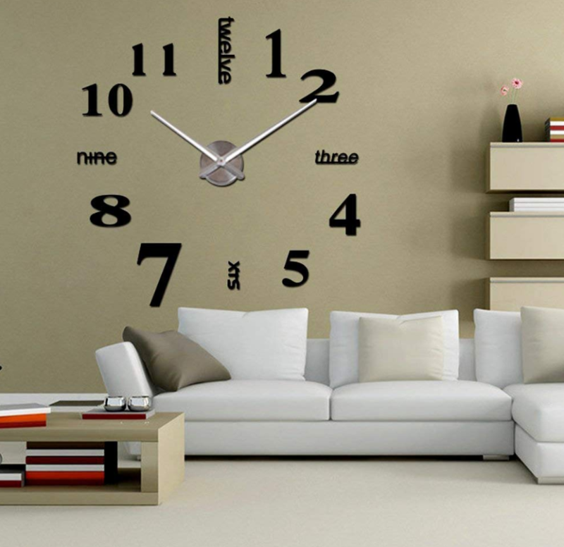 Oversized Wall Clock Large Silent Sliver Mirror Modern Home Decor Metal Kit USA