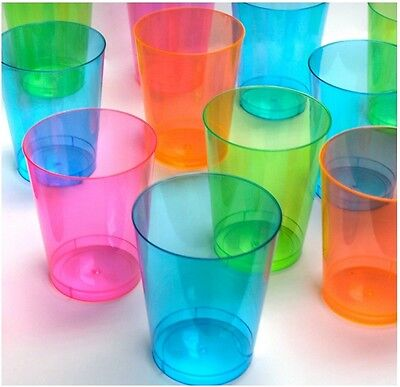 Hard Plastic 10 Ounce Party Cups, 100 Assorted Colorful Cups, Parties, Reunions