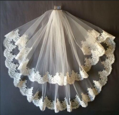 Bridal Lace Veil 2Tier Wedding Blusher Veil Fingertip Veil White Ivory+Comb