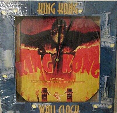 """Discontinued Round Vandor King Kong Wall Clock 10"""" Acrylic colorful Fay Wray"""