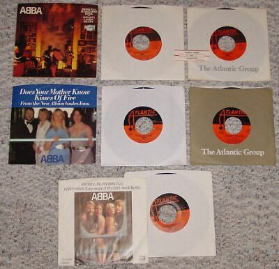 ABBA Vinyl Collection of 5 Original 45s - 3 Picture Sleeves -  1 Title Strip