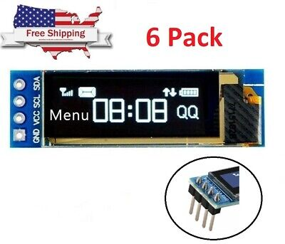 6x 0.91 128x32 Iic I2c White Oled Lcd Display Diy Module For Arduino