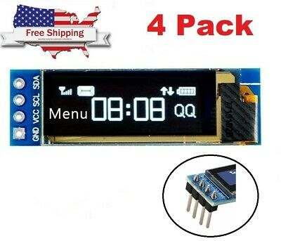 4pcs 0.91 128x32 Iic I2c White Oled Lcd Display Diy Module For Arduino