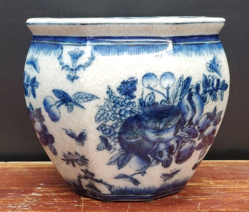 United Wilson 1897 Blue and White Flower Pot Butterfly Butterflies Vintage Bugs