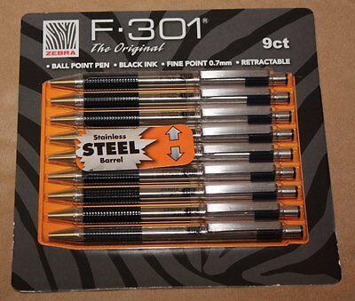 Zebra F-301 Retractable Ball Point Pen Black Ink Fine 0.7mm Stainless Steel 9 PK