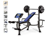 MACY MULTI PURPOSE WEIGHTS BENCH, BARBELLS, DUMBELLS(52kg) GLOVES, INSTRUCTIONS. EXCELLENT CONDITION
