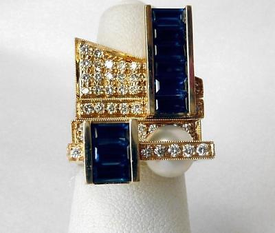 Rare ROBERT TRISKO 14k Modernist Diamond Sapphire Pearl Stacking Rings 4-Pc Set