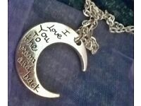 BRAND NEW SILVER COLOURED I Love You to The Moon And Back Necklace with A Gift Bag £5 Each