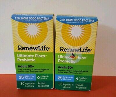 2 pack - Renew Life Adult 50+ Ultimate Flora 25 Billion Probiotic 30 Caps  Flora 50 Billion 30 Caps