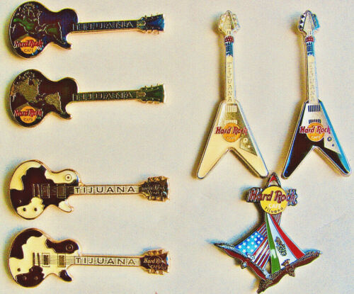 HARD ROCK LOT OF 7 PINS: TIJUANA GUITARS - THE AMERICAS, COW HIDES, FLYING