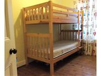 John Lewis wooden bunk bed and 2 mattresses - all in great condition
