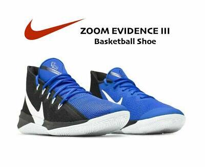 Nike Zoom Evidence III Basketball Shoes AJ5904 Black Royal Blue Men's size 14