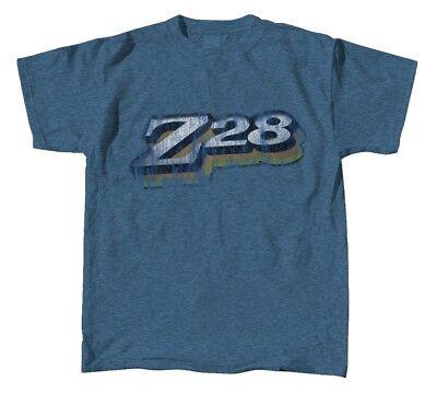 Chevrolet Z28 Camaro Men's T-Shirt ~ Denim Blue ~ Retro Logo Distressed Look Denim Distressed T-shirt