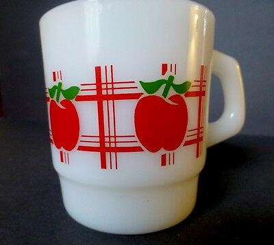 Anchor Hocking Fire-King EXTREMELY RARE White With Red Apple & Tartan Plaid Mug