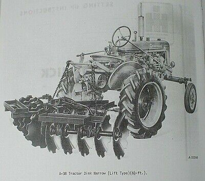 Ih Mccormick Farmall Super A-38 Tractor Rear Lift Disk Harrow Owners Manual