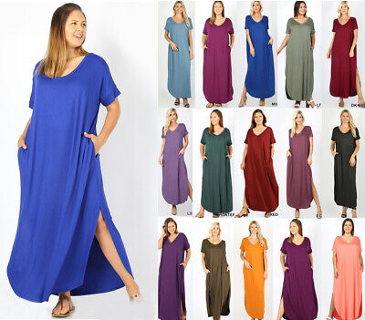 Women's Solid T-Shirt Maxi Dress Casual Basic Soft Jersey Knit Loose w/ Pockets  Jersey T-shirt Dress