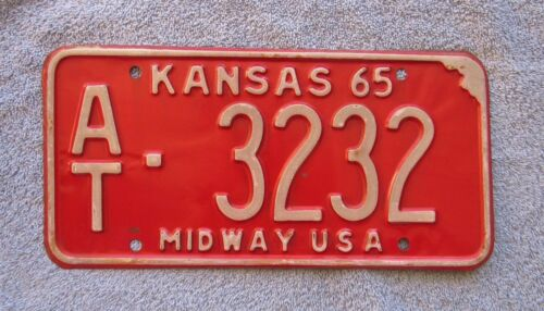 1965 Atchison County Kansas License Plate #AT-3232 Passenger ManCave Chevy Ford