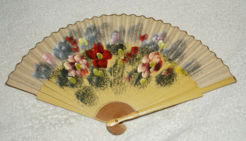 Vintage hand fan - wooden and cloth - hand painted flowers - pretty