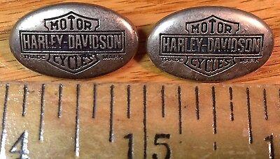 (2) Vintage Metal HARLEY DAVIDSON Trade Mark - Emblems - Pins - Boot Badges Craft Badges Pins