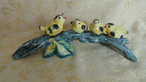 Vintage Porcelain Four Yellow Birds on Branch Figurine