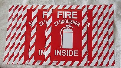 10 Pictorial Fire Extinguisher Inside Self-adhesive Vinyl Sign..6 X 9 New