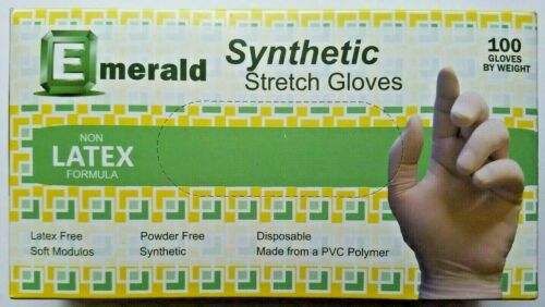 Emerald Synthetic Stretch Disposable Vinyl Gloves Medium Non-Latex 100 Count