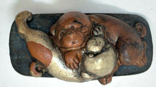Antique Japanese Maekanagu Clasp: Little Wrestling Puppies (V25)