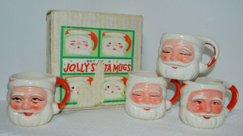 Set of 4 Vintage Jolly Winking Santa Mugs Original Box Made in Japan