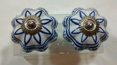 Pair Porcelain Majolica Blue White Drawer Pull Knobs Silver Tone Accent