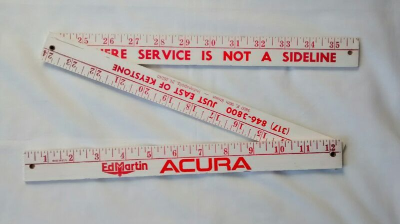Acura Advertising Wood Ruler Car Dealer Promotional Automobile
