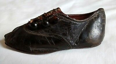 Antique Victorian Baby Button Single Shoe Black Leather 19th Century
