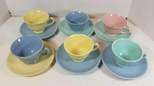 Vtg TS&T LuRay Pastels Teacup and Saucer Set of 12 Yellow Blue Pink Green