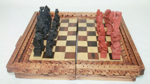 Carved Wood Asian Chess Checkers  Backgammon Foldable Game Board