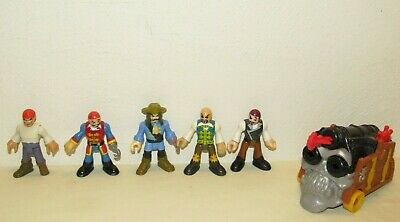 Fisher-Price Imaginext PIRATE SHIP CANNON & 5 FIGURES LOT Peg Leg, Projectile