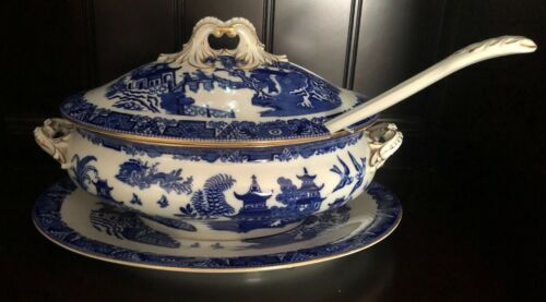 Early Royal Worcester Vitreous Covered Soup Tureen Blue White Oriental Gold Trim