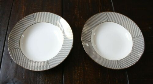 """Lenox Gluckstein WINSTON 2 Shallow Large Rimmed Soup Pasta Bowls 9-1/4"""" NWT"""