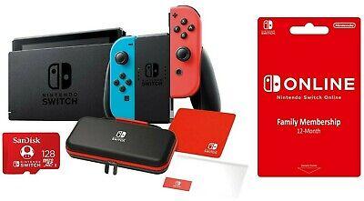 NEW Nintendo Switch Bundle + 12 MONTH PLAN + CASE + 128GB MicroSD CARD & MORE