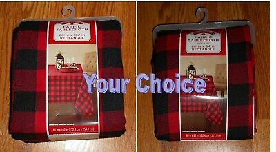 Black Fabric Tablecloth (Buffalo/Montana Plaid Red&Black Check Holiday 60x84 OR 60x102 Fabric)