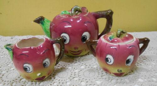 MCM Vintage Anthropomorphic Apple Teapot/ Creamer and Sugar Bowl Japan Nice