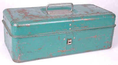 """LIBERTY Steel Chest Corp. Tackle Tool Box-13x5x6.5""""-Compartments-Green-USA-vtg"""