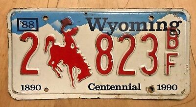 """1988 WYOMING CENTENNIAL 1890 1990 AUTO LICENSE PLATE """" 2 823 BF """" WY 88 BRONCO"""