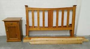 Solid Pine Honey Stained QUEEN Slat Base Bed   Free bedside table