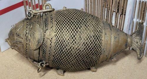 Vintage India Brass Dhokra Fish Trinket Box