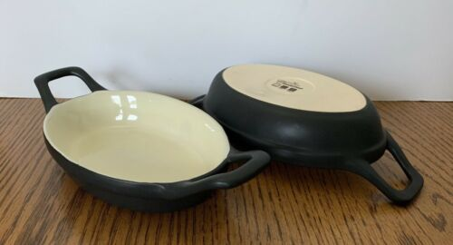 2 ~ Nouvelle Cuisine Baking Dishes With Handles Black Tan