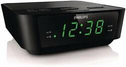 New Philips Digital Dual Alarm Clock FM Radio LED Display Buzzer Snooze Timer