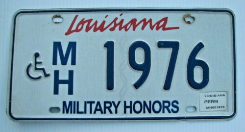"LOUISIANA WHEELCHAIR MILITARY HONORS LICENSE PLATE "" & MH 1976 "" LA HANDICAPPED"