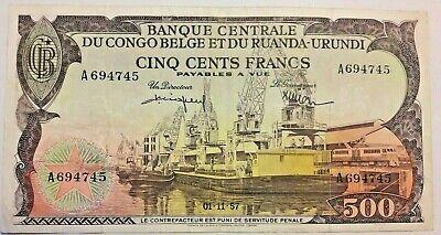 ==>> 500 Francs Frank 1957 Pick 34  Belgisch Congo Belge Belgium Colony <<<===