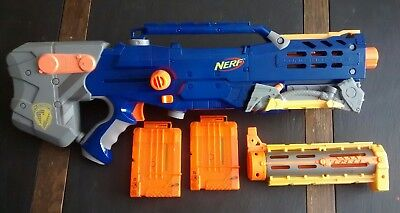 Nerf Longshot cs-6 lot Blue With Front Extension 2 Ammo Cartridges Magazines
